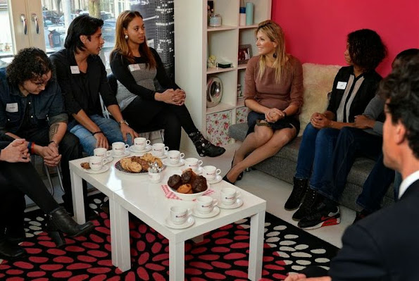 Queen Máxima visited the project Kamers met Kansen (Rooms with a Future) for young people in Amsterdam, Netherlands
