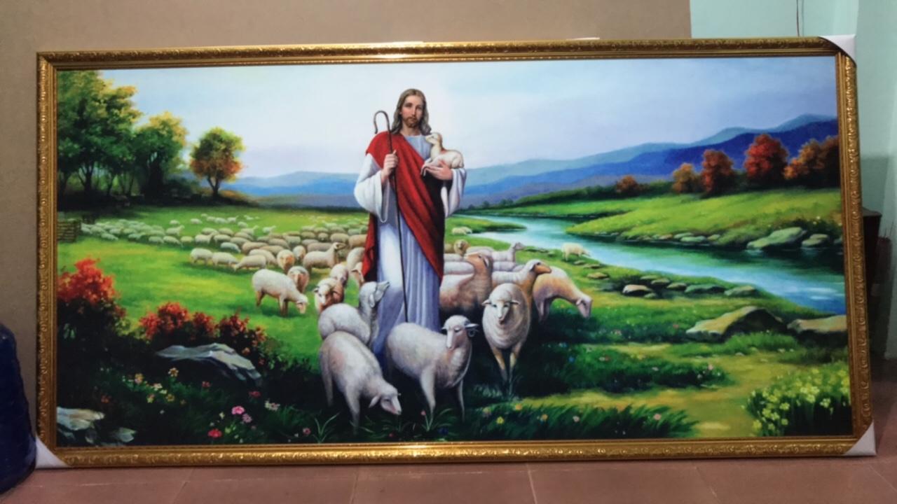 Tranh Treo Tường Khổ Lớn Chúa Chiên Lành Và Đàn Cừu