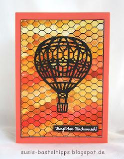 Heißluftballon im Sonnenuntergang, diy Geburtsagskarte verschiedene HIntergrund Variationen mit dem Stampin' Up! Stempel all wired up und Farben, Idee von Stampin' Up! Demonstratorin in Coburg