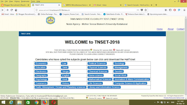 Tamilnadu TNSET Answer Key 04 March 2018 Expected Cutoff