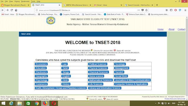 Tamilnadu TNSET Answer Key 04 March 2018 Expected Cutoff
