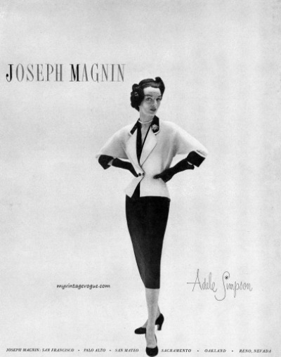 Model in Pencil Skirt Suit for Adele Simpson Design for Joseph Magnin Ad