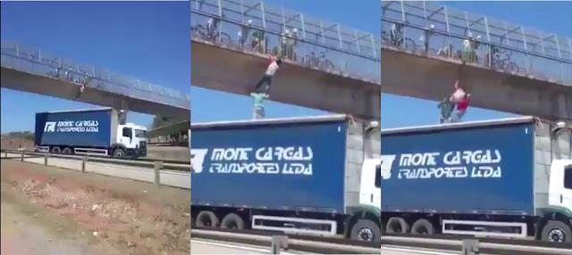 caminhoneiro, caminhão, caminhao, caminhões, caminhões, estrada, estradas, salva vida, suicida, viaduto, tenta pular, motorista, heroi, herói,