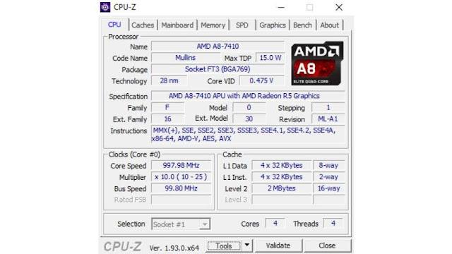Cara melihat spesifikasi laptop Windows 10 di CPU-Z