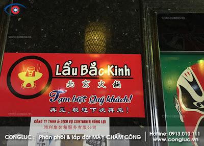 Lắp đặt máy chấm công nhà hàng lẩu Bắc Kinh Hải Phòng