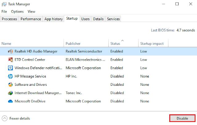 Cara Disable Aplikasi Startup Windows 10