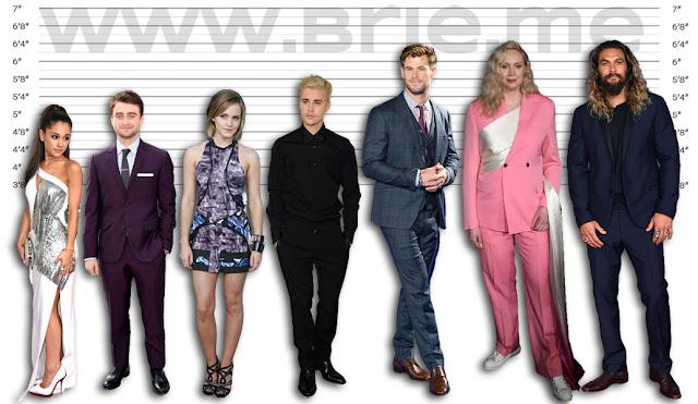 Ariana Grande, Daniel Radcliffe, Emma Watson, Justin Bieber, Chris Hemsworth, Gwendoline Christie, and Jason Momoa height comparison
