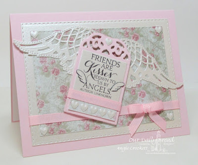 ODBD Sentiments Collection, ODBD Custom Clouds and Raindrops Dies, ODBD Custom Recipe Card and Tags Dies, ODBD Custom Double Stitched Rectangles Dies, ODBD Custom Angel Wings Dies, ODBD Shabby Rose Paper Collection, Card Designer Angie Crockett
