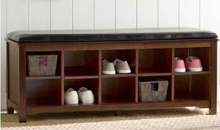 Home entryway storage and organizer bench.
