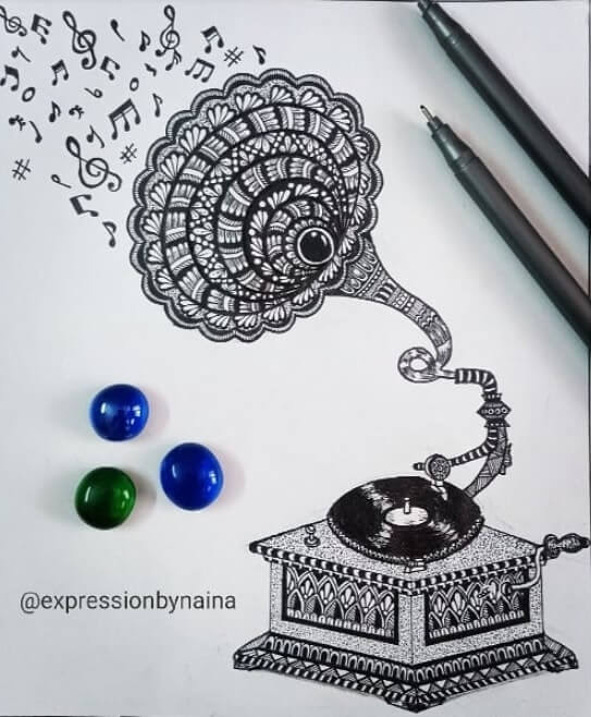 02-Music-though-a-gramophone-Naina-www-designstack-co