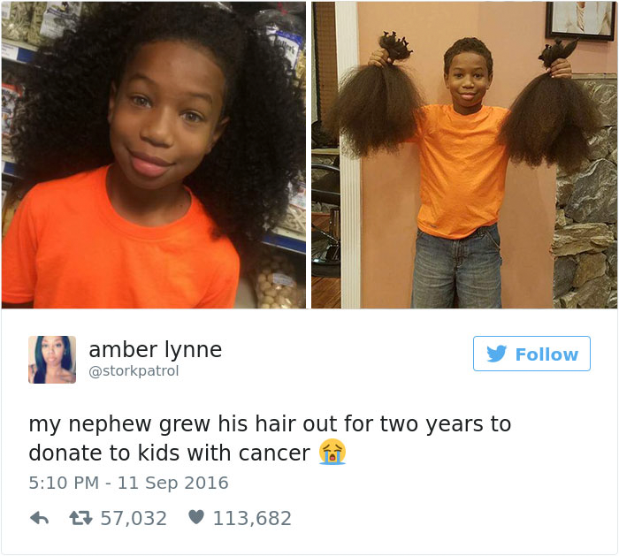 This 8-Year-Old Boy Spent 2 Years Growing His Hair To Make Wigs For Kids With Cancer - When Thomas Moore saw his mom watching a video on Facebook about a girl who had lost her hair to cancer, he had an idea
