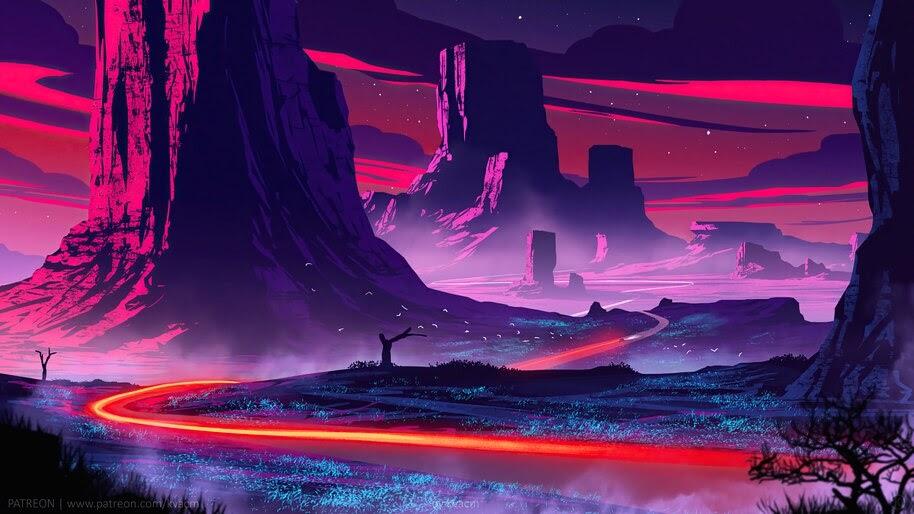Night, Beautiful, Landscape, Scenery, Digital Art, 4K, #6.2509