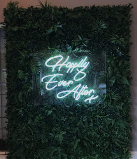 Happily Ever After neon sign rental, wedding backdrop