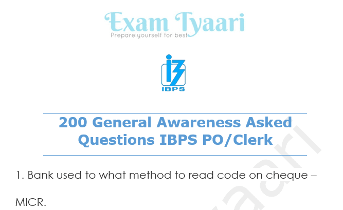 General Awareness Questions For Bank Exams In Pdf