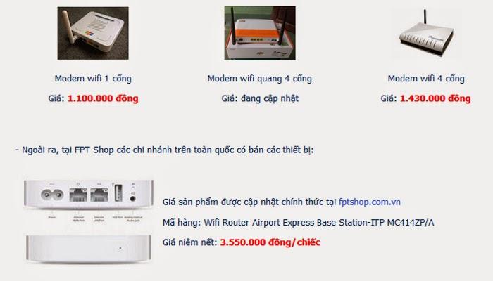 Giá Của Moderm Phát Wifi Fpt Là Bao Nhiêu Tiền 1