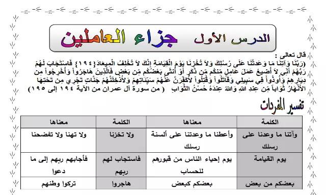 مذكرة اللغة العربية منهج الصف الخامس الابتدائي الترم الاول