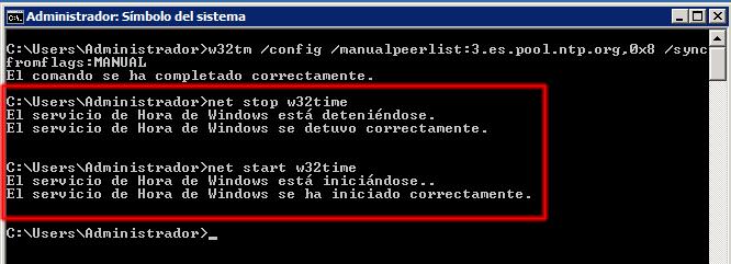 net stop w32time, net start w32time