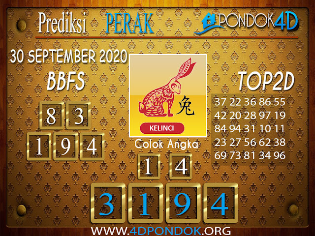 Prediksi Togel PERAK PONDOK4D 30 SEPTEMBER 2020