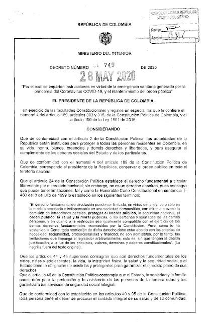 DECRETO 749 DE 2020