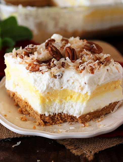 No-Bake Coconut Yum Yum with Toasted Coconut Topping Image