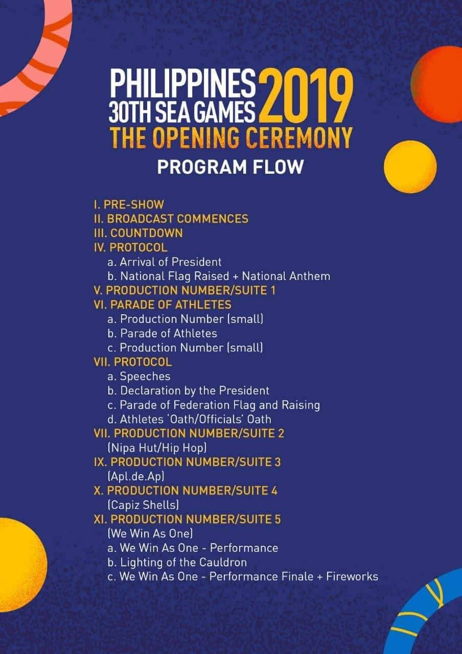 The program flow of the 30th SEA Games.