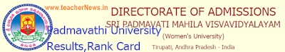 Padmavathi University Results 2019 - SPMVV PGCET Rank Card, MA/ M.Sc Selection list