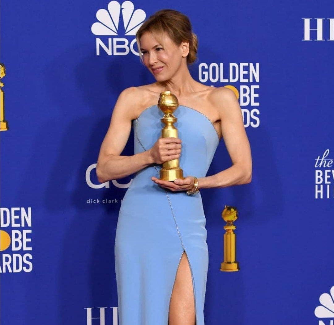 Renee Zellweger is pristine in Armani Prive at the 2020 Golden Globe Awards