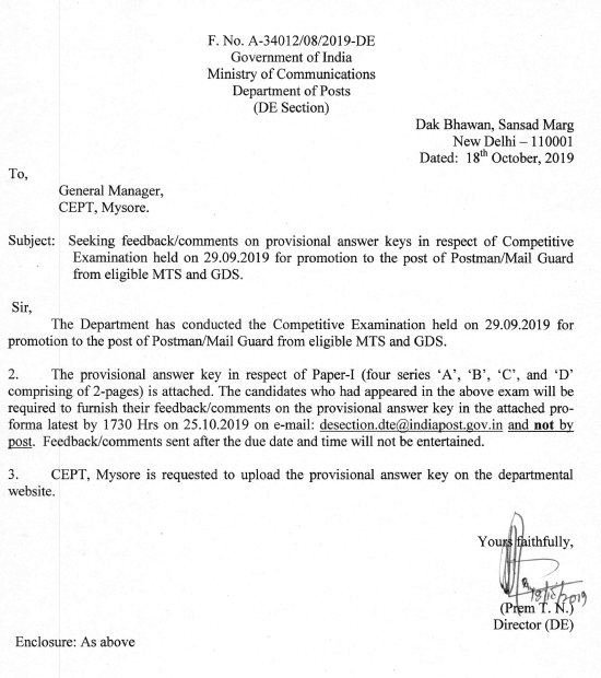 Seeking feedback/ comments on provisional answer keys in respect of Competitive exam held on 29.09.19 for promotion to the post of Postman / Mail guard from MTS and GDS