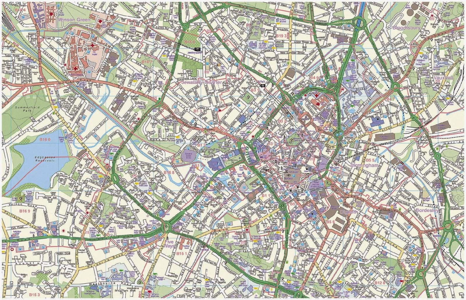 City Map of Birmingham, UK - Free Printable Maps