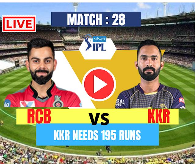 DREAM11 IPL 2020, MATCH 28: RCB VS KKR, KKR needs 195 runs to win, Game on