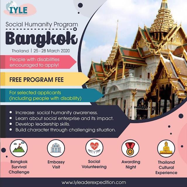 Pertukaran Pemuda Bersama IYLE Bertajuk Social Humanity Program di Bangkok, Deadline 30 Desember 2019