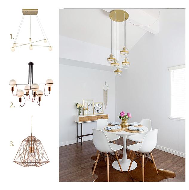 lámparas doradas