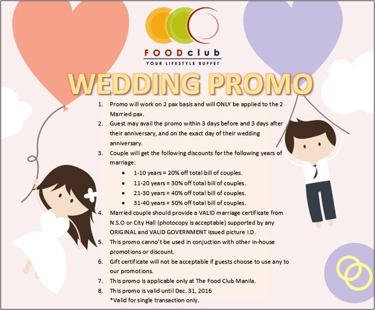Wedding Anniversary Ideas Manila : ... Wedding Anniv? Check out The Food Club Wedding Anniversary Promo