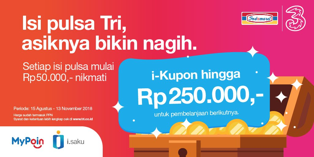 Tri - Promo Isi Pusa Tri di Indomaret Gratis I-Saku s.d 250 Ribu (s.d 13 Nov 2018)