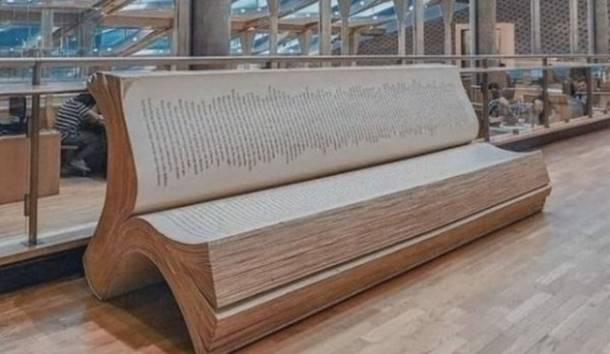 Book-shaped library bench