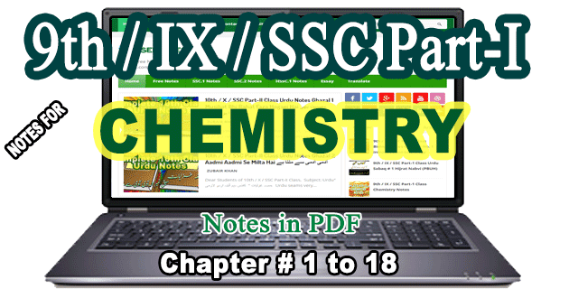 9th Class Notes for Chemistry Chapter Wise