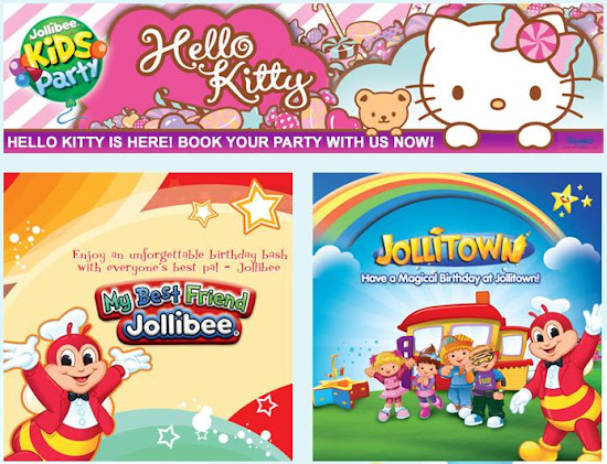 Some of the available Jollibee party themes