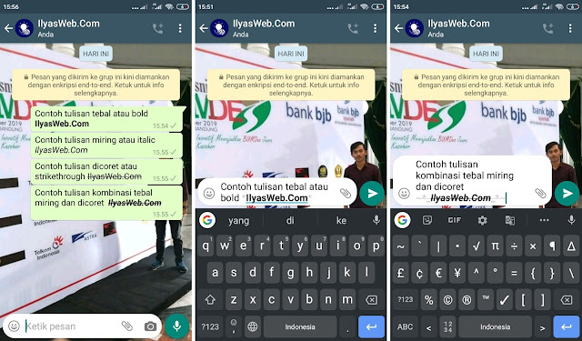 cara mengubah tulisan di whatsapp