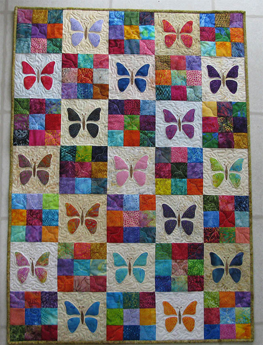 Butterfly Baby Quilt Free Pattern designed by Freemotion by the River