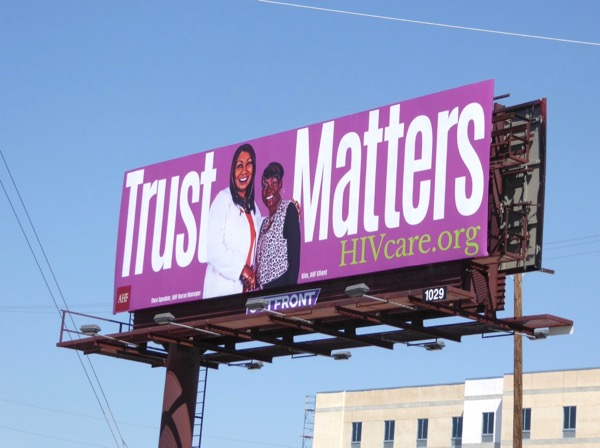 Trust Matters HIV Care purple billboard