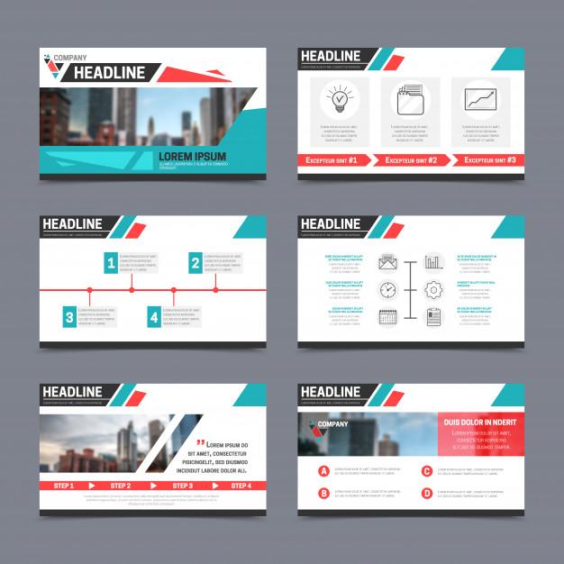 Presentation templates set Free Vector