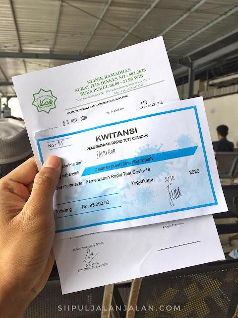 Pembayaran rapid test di stasiun tugu yogyakarta