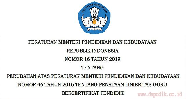 Download Permendikbud Nomor 16 Tahun 2019 - Penataan Linieritas Guru Bersertifikat Pendidik