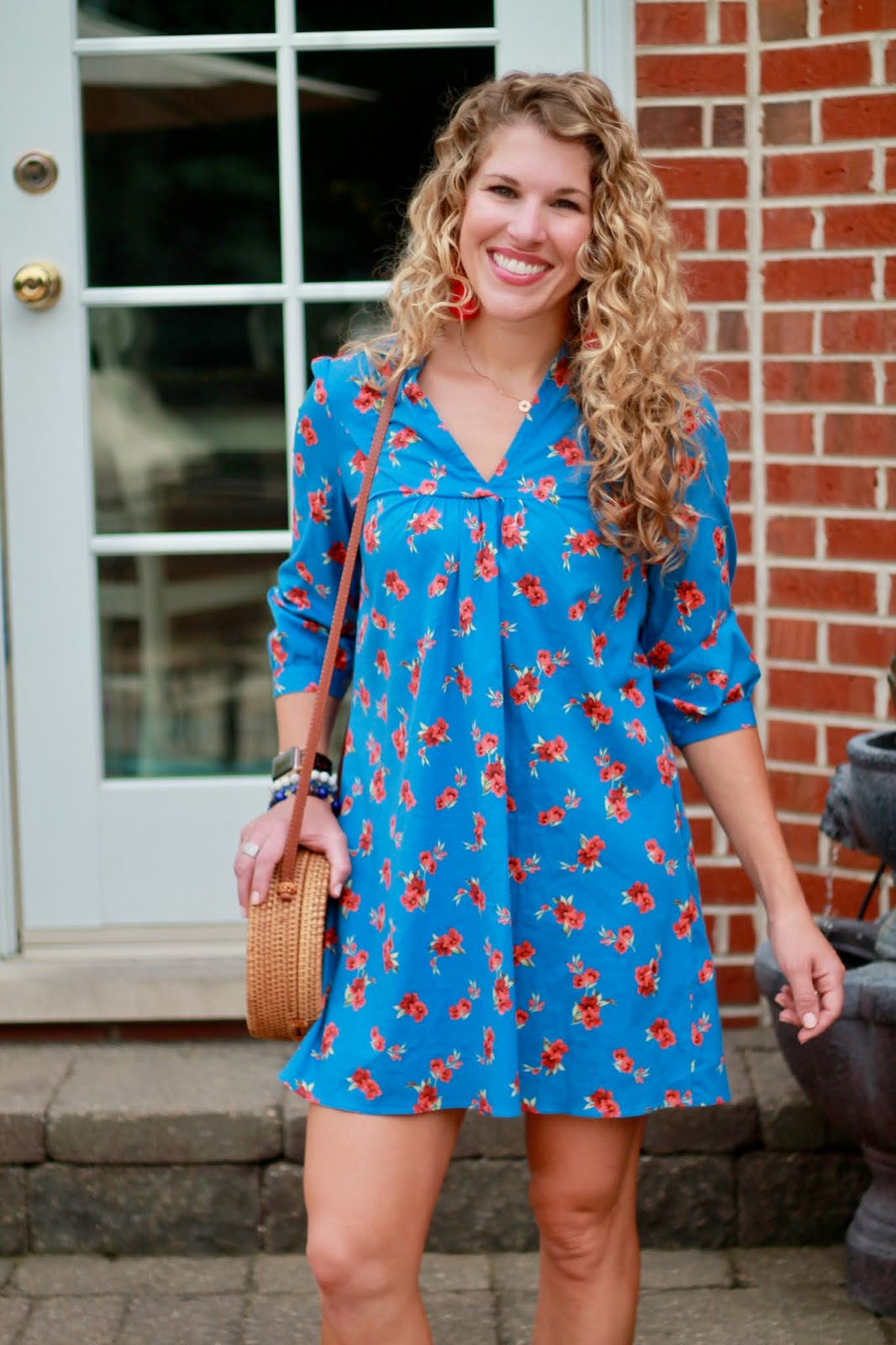 zara emma dress, fall transitional outfit with dress, mini dress for fall, red espadrille wedges, round straw bag