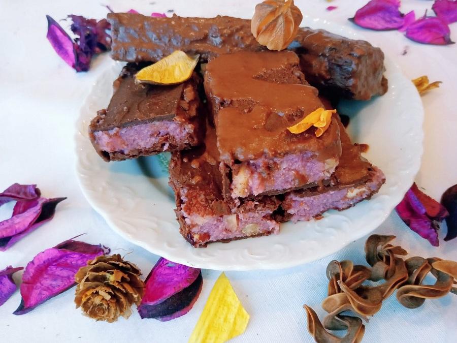 Barras de chocolate lilás