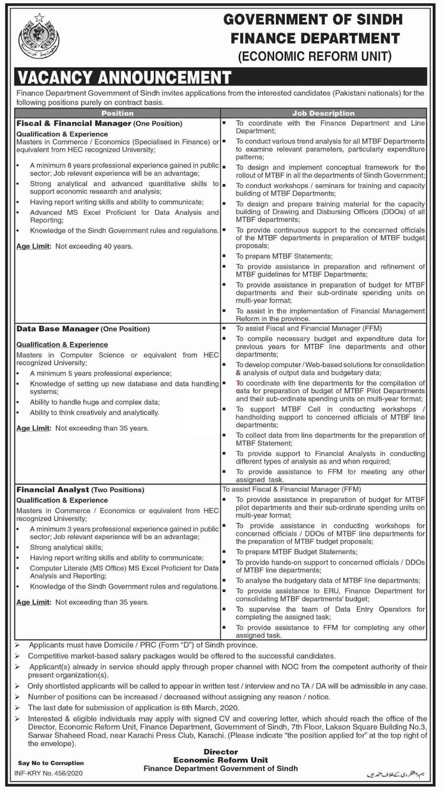 Economic Reform Unit Finance Department Sindh Jobs 2020