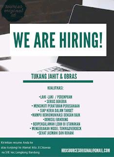 Lowongan Kerja Tukang Jahit dan Obras Bandung