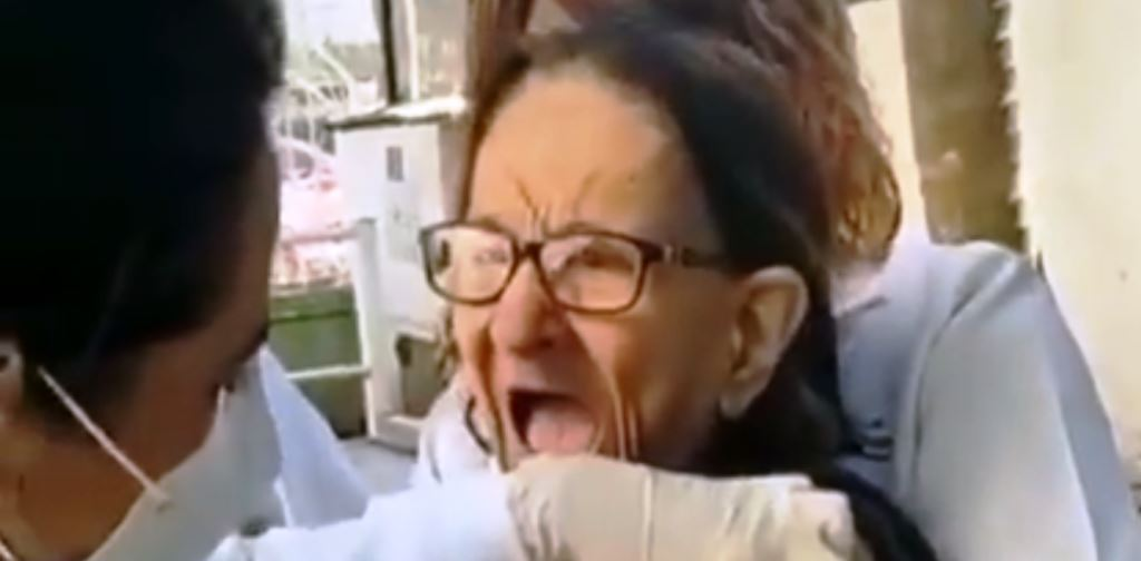 Elderly woman scares everyone while getting vaccinated, video goes viral