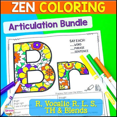 Have fun with this Zen coloring bundle! Articulation practice of r, l, s and th sounds that's perfect for mixed group speech therapy activities.. Elementary and middle school kids love coloring the fun patterns on these no-prep printables. Click to see more. #speechsprouts #speechtherapy #articulation #noprep