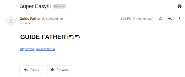 Mail send via Sendgrid